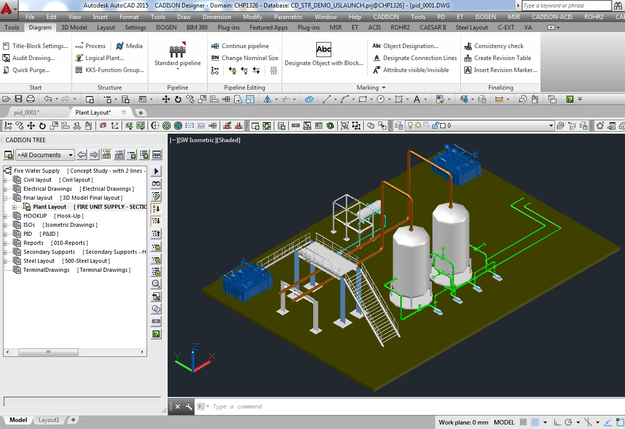 Plant equipment pipeline planning software for 3d plan drawing